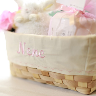 おむつケーキ,バスケット,出産祝い,名前入り,女の子