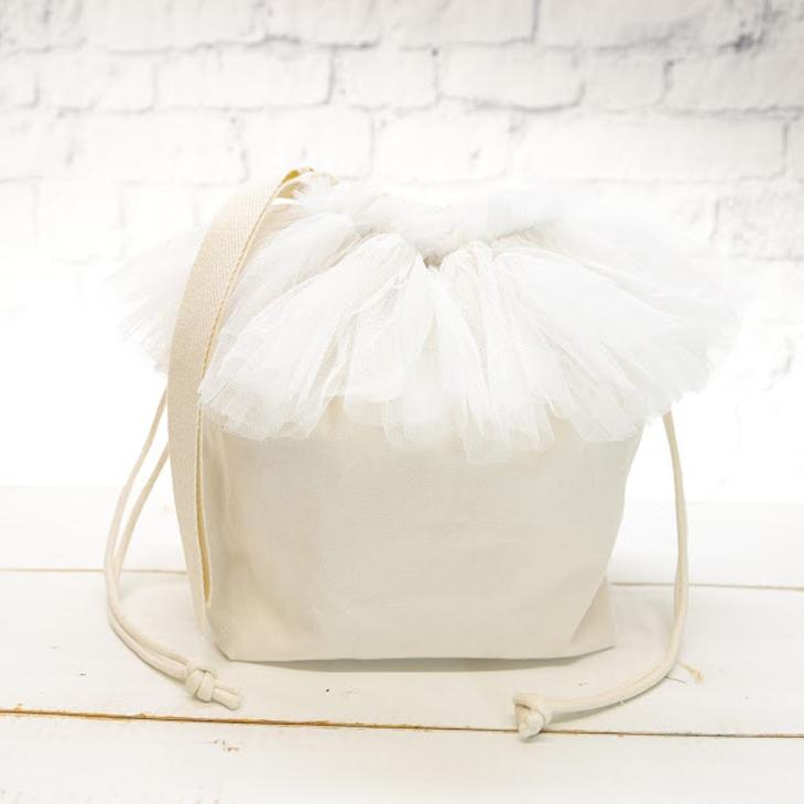 ママバッグ,巾着バッグ,白×白チュール2