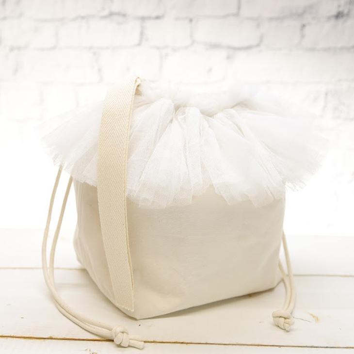 ママバッグ,巾着バッグ,白×白チュール3