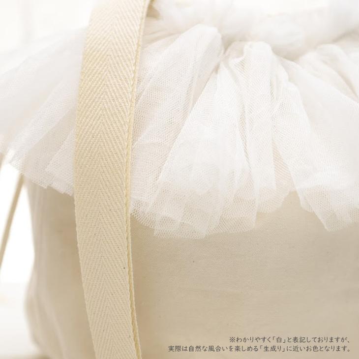 ママバッグ,巾着バッグ,白×白チュール4