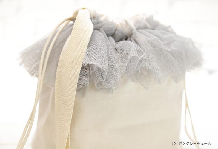 ママバッグ,巾着バッグ,白×グレーチュール