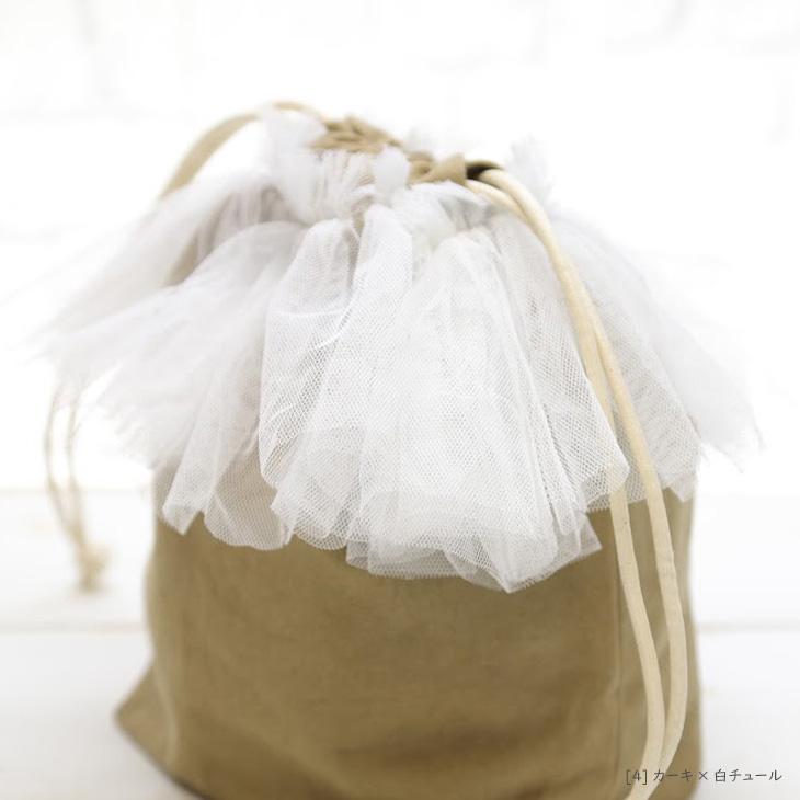ママバッグ,巾着バッグ,カーキ×白チュール