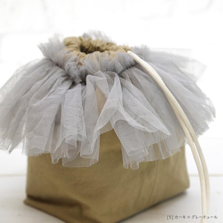 ママバッグ,巾着バッグ,カーキ×グレーチュール