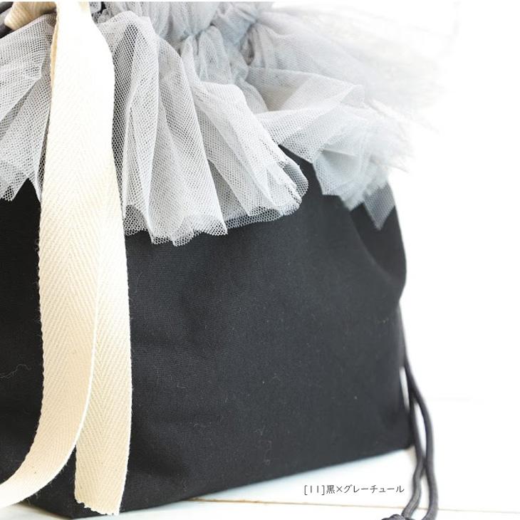 ママバッグ,巾着バッグ,黒×グレーチュール