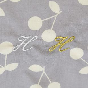 出産祝い,さくらんぼ柄,刺繍色,ゴールド,白