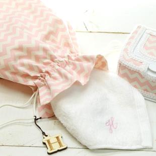 巾着,お着替え入れ,シェブロン柄,ピンク