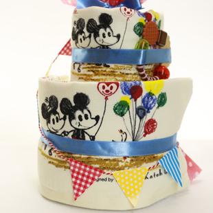 おむつケーキ,ディズニー,タオルセット,ミッキーマウス,ミニーマウス,名前入り
