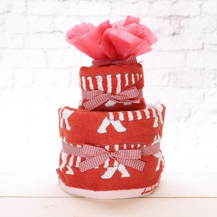 リサラーソン,おむつケーキ,女の子用,赤,正面