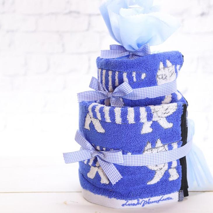 リサラーソン,おむつケーキ,男の子用,青,横